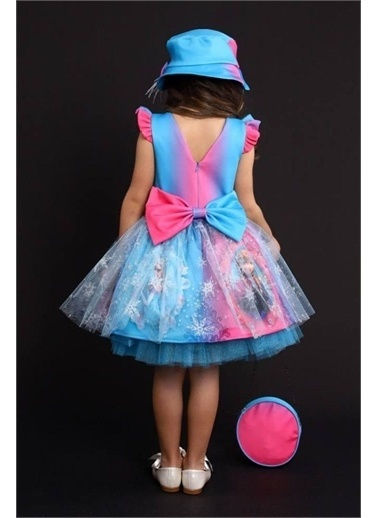 Riccotarz Kız Çocuk New Çantalı Şapkalı Elsa Mavi-Pembe Elbise Mavi